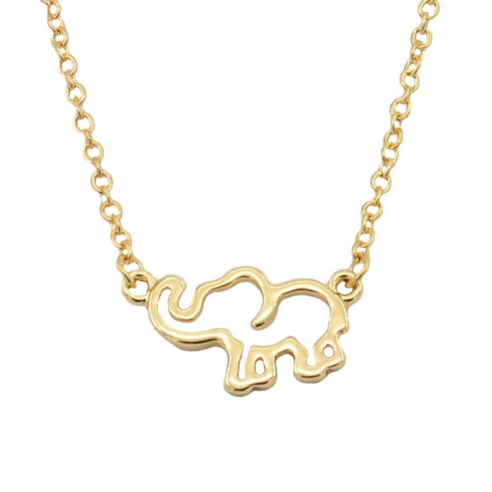 Collier femme liga de ouro corrente origami elefante pingente colares para jóias femininas colares largos de moda 2018 kolye