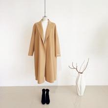 Shuchan Open Stitch A-Line Long Wool Coat High Street Solid  Woman Coats Winter 100% Casaco Feminino Korean Fashion
