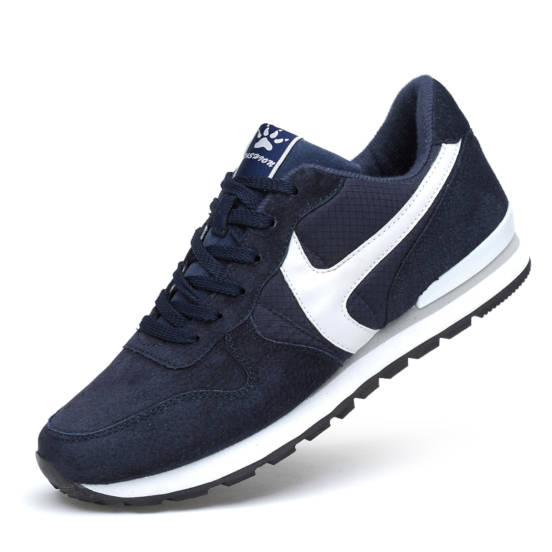 Comfortable Soft Mens Sneakers Suede Leather Men Running Shoes Lifestyle Spring Men Sneakers Hard Sole Light Running Sport Shoes