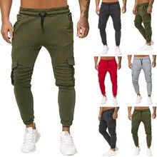 KLV Splicing Gradient Cargo Pants 2019 Men Casual Multi Pocket Sport Trousers Male Long Workwear L0823