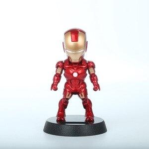 Image 3 - 2017 Q Versie Action Figure Superheld Iron Man Black Panther Pvc Figuur Zonne energie Schudden Hoofd Speelgoed 12Cm Chritmas gift Speelgoed