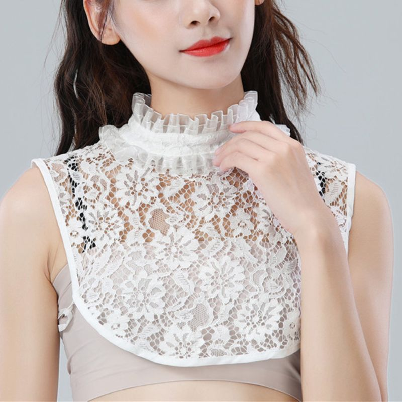 Women Girls Double Layer Ruffles Stand Doll False Fake Collar Crochet Sheer Floral Lace Detachable Button Down Half-Shirt Blouse
