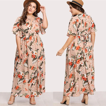 Plus Size Fashion Women Maxi Dress Beach Vintage Bohemian Female Long Dresses Summer Short Floral Ladies Robe Femme Vestidos fashion long sleeve maxi dress women autumn robe casual plus size boho dresses female vintage bohemian beach floral long dress