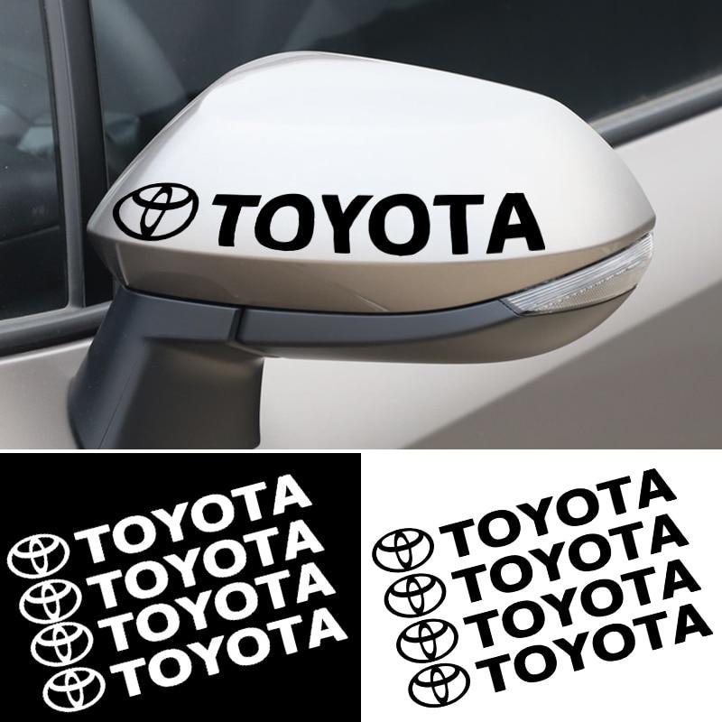 4pcs Logo Car Door Handle Stickers Decal For Toyotas Corolla Yaris Rav4 Avensis Auris Camry C-hr 86 Prius car accessories