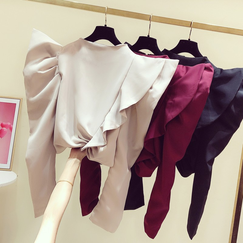 womens blouses and tops 2020 Spring New Korean Fashion Temperament Satin Ruched Waist Puff Sleeve Shirt Ruffles Blouses ladies
