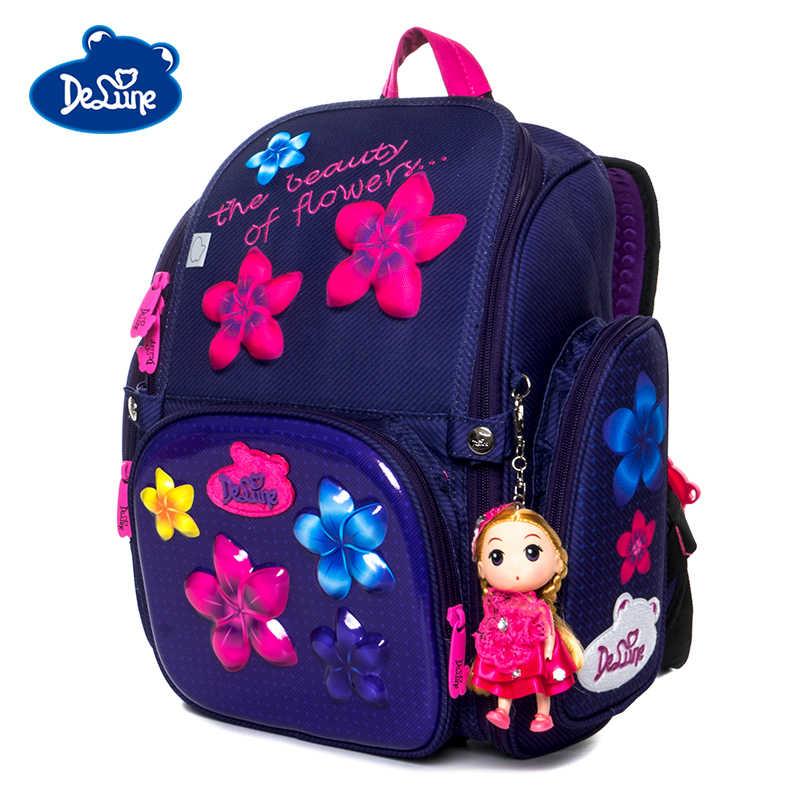 Delune Marke Grade 1-3 Mädchen Neue Schule Taschen 6-117 3D Orthopädische Rucksack Satchel Cartoon Mochila Infantil kinder Tasche Rucksack