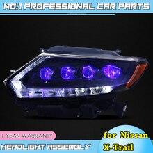 Auto Accessoires Voor Nissan X Trail Koplampen 2014 17 Nissan X Trail Led Koplamp Drl Lens Dubbele beam