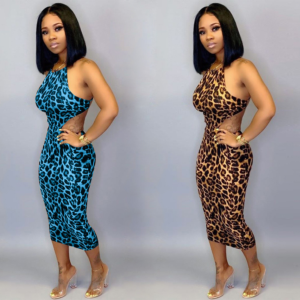 HAOYUAN <font><b>Plus</b></font> <font><b>Size</b></font> Cheetah Leopard Bodycon <font><b>Dress</b></font> Women Summer Vestidos Backless Bandage Oversized <font><b>Sexy</b></font> Party Club Midi <font><b>Dresses</b></font> image