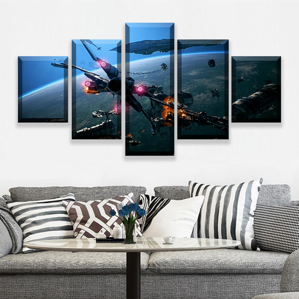 HD Prints Pictures Wall Art Canvas Posters Home Decor 5 Pieces Star Wars Movie Paintings For Living Room Framework (2)