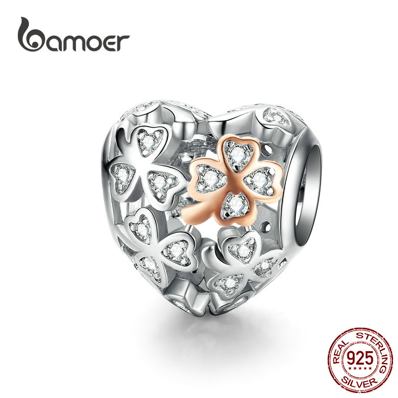 bamoer Lucky Clover Heart Shape Charm for Women Luxury Brand Bracelet 3mm Rose Gold Color 925 Sterling Silver Jewelry SCC1248(China)