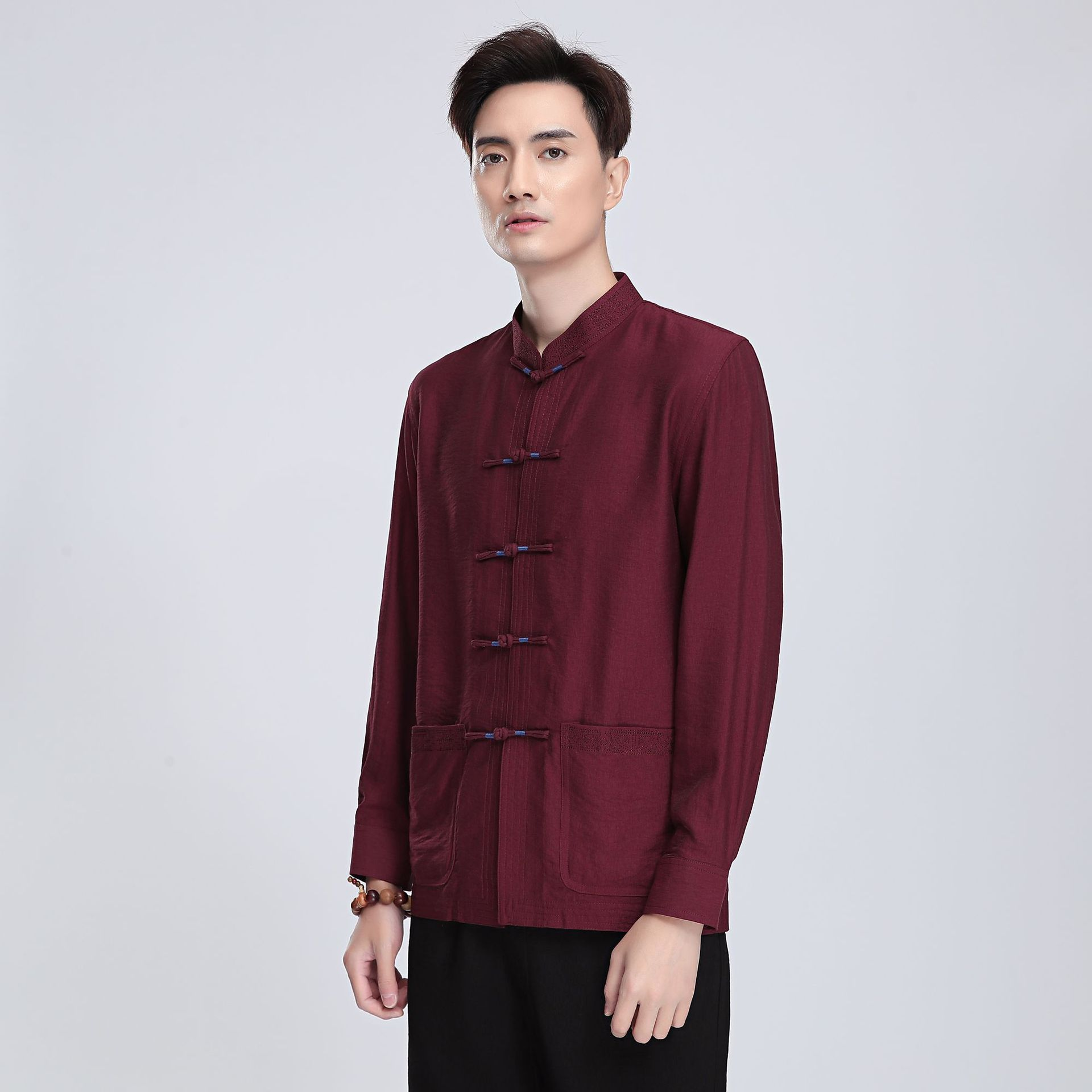 Chinese-style Chinese Style Flax 2813-3 Chinese Costume MEN'S Long Sleeve Top Middle-aged Long-sleeved Shirt/Set