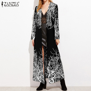 Plus Size Fashion Printed Cardigans Women's Summer Ankle Blouse Cover Up ZANZEA Casual Long Sleeve Shirts Female Button Tops 5XL