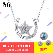 New Arrival Genuine 925 Sterling Silver Horseshoe Star Cubic Zirconia Pendant Necklaces For Women Jewelry Lover Gift