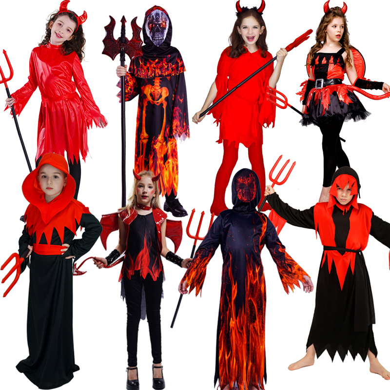 Kid Halloween Costume Cosplay Boy's&Girl's Devil Costume Performance New Arrival Girl Red Scary Devil Dress  Boy Devil Clothes