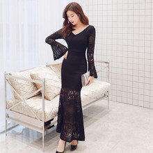 Autumn Winter Brand Black Lace Dress for Women Long Midi Sexy Flare Sleeve Vintage Womens Dresses New Arrival 2019