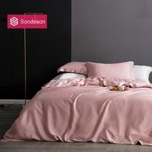 Sondeson Luxury Beauty 100% Silk Pink Bedding Set 25 Momme Silk Healthy Skin Duvet Cover Bed Linen Set Queen King For Women Man