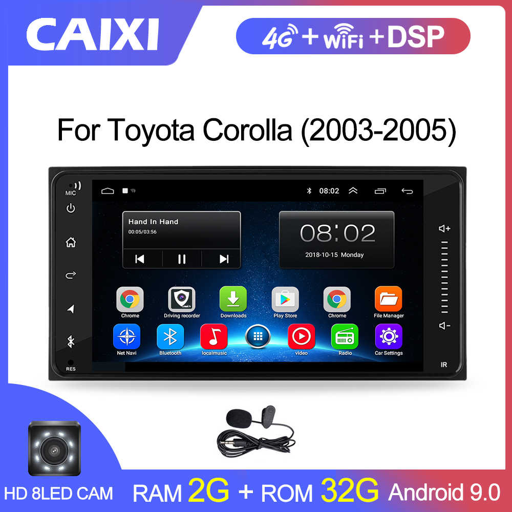 2din Universele Android 9.0 Auto Radio Speler Stereo Auto Multimedia Speler Voor Toyata Corolla Vios Crown Camry Hiace Previa RAV4