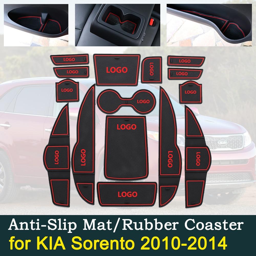 Anti-slip Rubber Door Cup Cushion for KIA SORENTO R XM 2010 2014 2011 2012 2013 Groove Mat Interior Car Accessories for phone