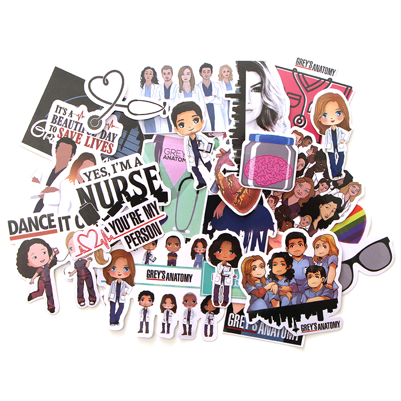 CA66 23Pcs/set TV Show Grays Anatomy Waterproof Stickers Kids Toys Stickers For DIY Luggage Laptop Skateboard Car Decor