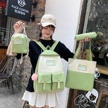 4pcs set School Bag For Women Backpacks Canvas Cute Shoulder Bag For Teenagers Girls Student Kids Book Bag Mochilas