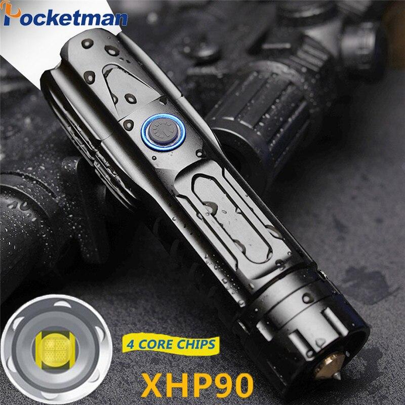 Супер яркий XHP90.2 светодиодный фонарь XLamp тактический Водонепроницаемый фонарь умный чип управление с нижней атакой конус USB Перезаряжаемый