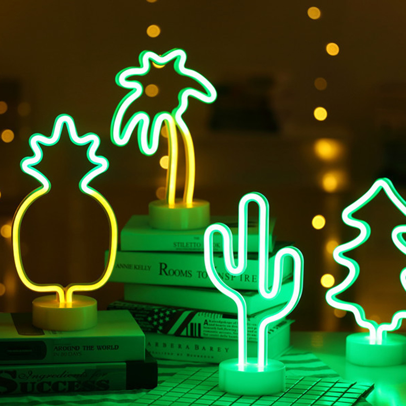 Cartoon Night Lights Rabbit/love Heart/dolphin/tree/angel/Cactus/Snowman/Ghost LED Table Lamp For Children's Bedroom Decoration