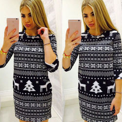 New arrival Women Winter half slim vintage Knitted Jumper Christmas Sweater Pullover Knitwear Long Tops Dress Womens Ladies Warm 3