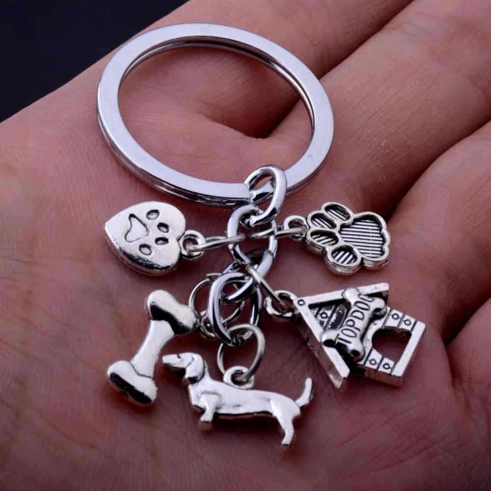 36 шт. брелки с собаками прекрасный отпечаток Topdog кости амулет подвесной брелок подарок для любителей домашних животных папа мама друзья подарок ювелирный брелок