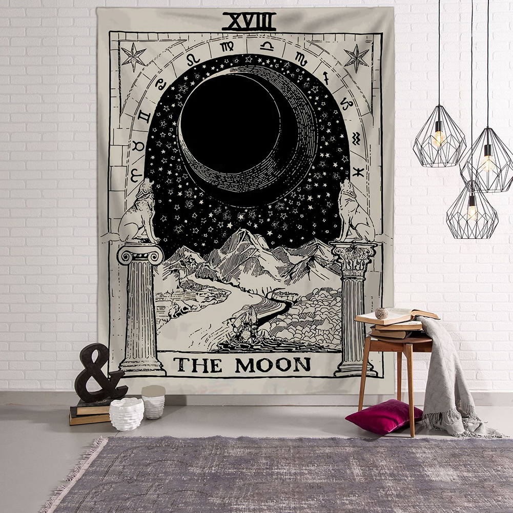 Tapiz de cartas de Tarot Tapiz colgante de pared astrología divinación colcha playa alfombra Tapiz brujeria tapices de tela de pared