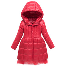 Warm Fashion Girls Down Jackets Long Model Children Real Down Parkas Coat Kids Teenager Thick Down Outerwear For Cold Winter