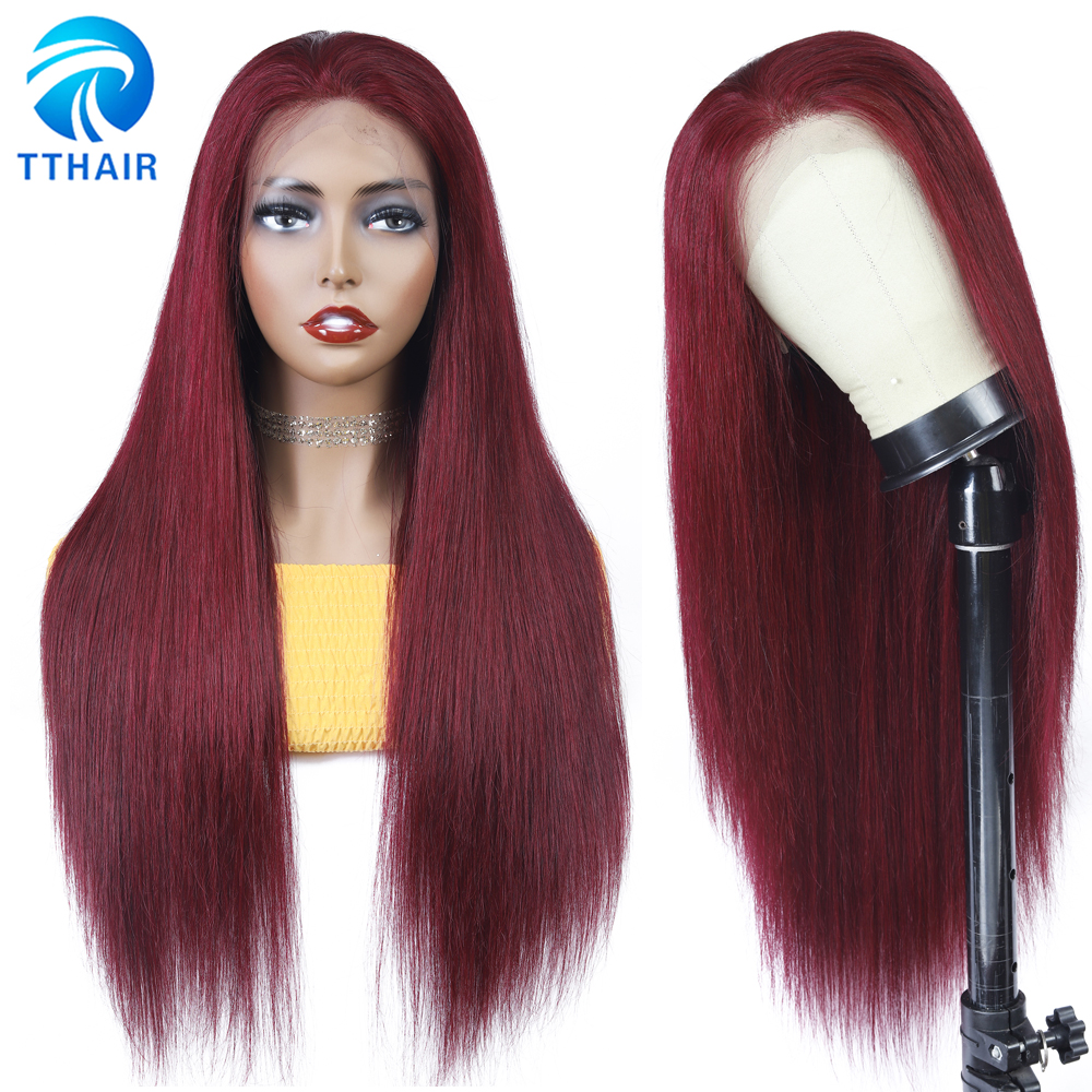 TTHAIR Colored Human Hair Wig Straight Lace Frontal Wig Burgundy Lace Front Wigs Transparent Lace Wig Brazilian Wig Remy 28 Inch