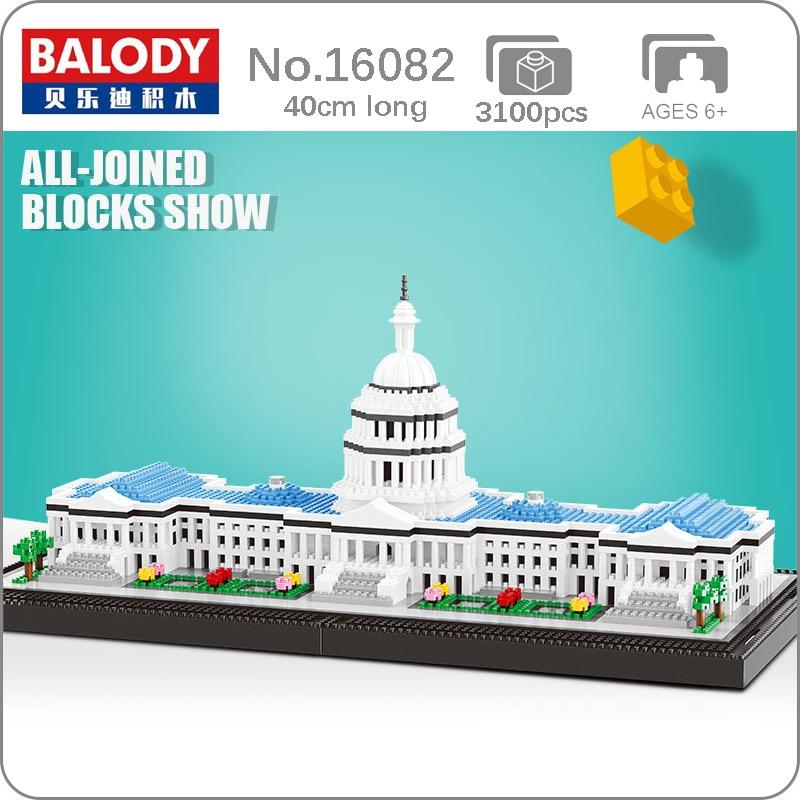 Balody World Famous Architecture Capitol Building Blocks 3D Model Bricks DIY Mini Diamond Blocks Building Toy for Children Boys