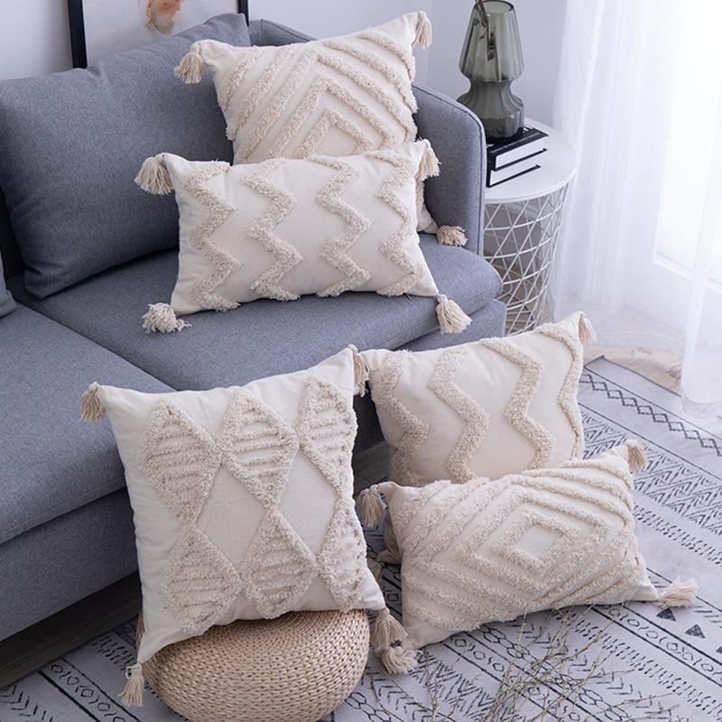 Handmade Cushion Cover with Tassels 45x 45cm/30x50cm Beige Pillow Cover Boho Decor Moroccan Style Seat Cushion Pillowcase