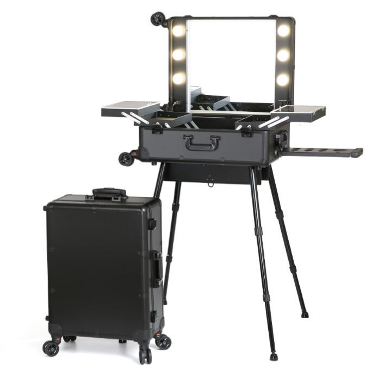 Portable Dressing Table with LED Mirrors Tray 4 Legs Table Free standing for Outdoor Studio Artist Making Up Case Black|Dressers| |  - title=