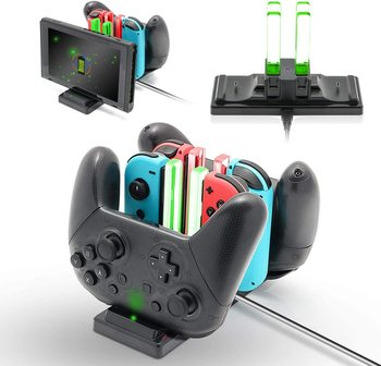 6 in 1 Charging Station Controller Fast Charger Dock LED Indicator for Nintendo Switch NintendoSwitch Joy-Con Pro Controllers 2
