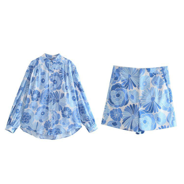 Za suit 2-piece suit new printed women Suits & shorts suits 2021 summer fashion chic pure cotton youth street women suit 4