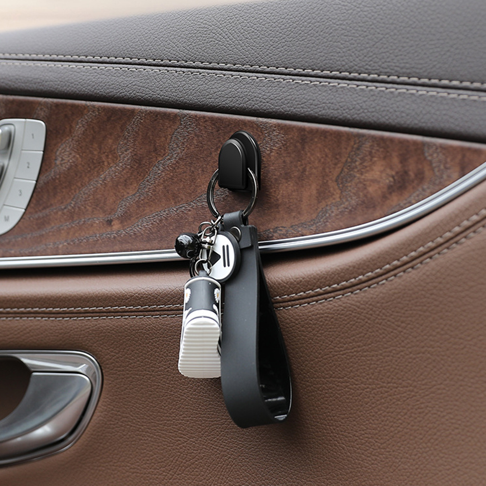 Luixxuer 4Pcs Car Hooks Organizer Storage for USB Cable Headphone Key Storage Self Adhesive Wall Hook Hanger Auto Fastener Clip