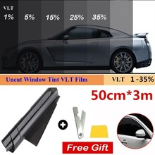 1 Roll 50cm X 3m 1/5/15/25/35 Percent VLT Window Tint Film Glass Sticker Sun Shade Film for Car UV Protector foils Sticker Films