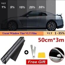 1 Roll 50cm X 3m 1/5/15/25/35 Percent VLT Window Tint Film Glass Sticker Sun Shade Film for Car UV Protector Sticker Films