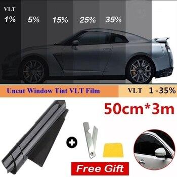 1 rollo de 50cm X 3m 1/5/15/25/35 por ciento VLT tinte de ventanilla pegatina de vidrio película de parasol para coche Protector UV película, adhesivo
