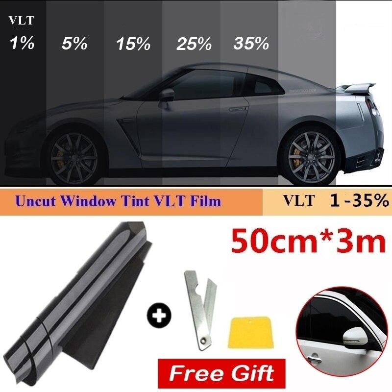 1 rouleau 50cm X 3m 1/5/15/25/35 pour cent VLT teinte de fenêtre teinte verre autocollant soleil ombre Film pour voiture UV protecteur autocollant Films