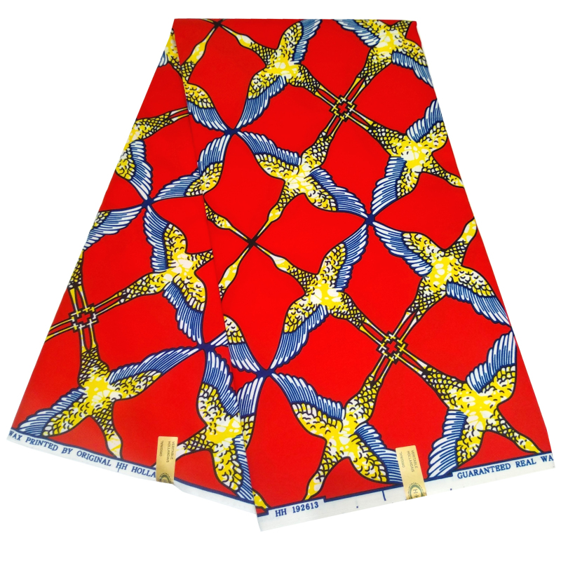 2020 Fashion Ankara African Wax Print Fabric For African Clothes Birds Print Red 100% Polyester Nederlands Wax Fabric 6 Yards