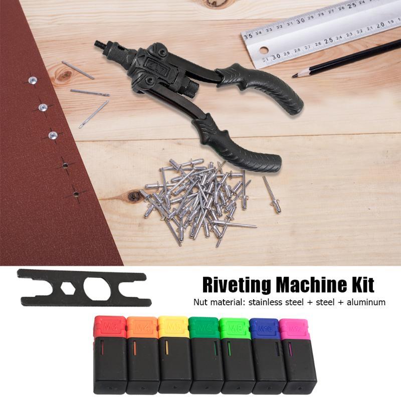 M3-M8 Flat Stainless Steel Flat Head Threaded Rivet Insert Nutsert Cap Rivet Nut Gun Kit Tool Set Hand Tool Supplies