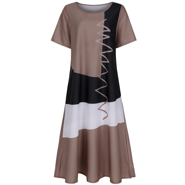 long summer dresses for women casual Plus Size Daily Short Sleeve Vintage Patchwork Bohemian O Neck