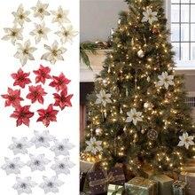 13 см Большой Цветок голова Блестящий Искусственный шелк цветок Рождественская елка орнамент DIY Рождественское украшение новогодний декор