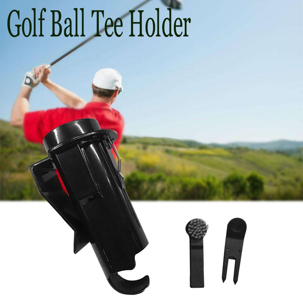 Portable Golf Ball Tee Holder Golf Pro Clip Caddy Divot Storage Box Golf Cleaning Tools With Brush Training Accessories