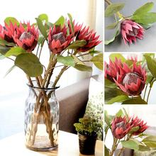 1Pc King Protea Artificial Flower Fake Plant DIY Wedding Bouquet Party Faux King Protea Realistic Party  hotels guesthouse Decor characterization of protea witches broom phytoplasma