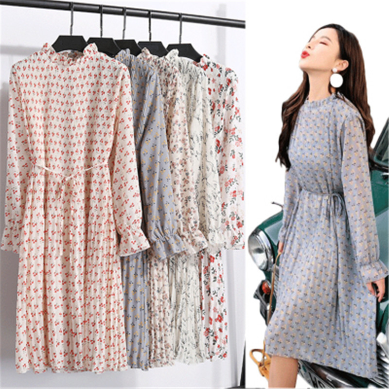 2020 Spring  Autumn  Floral Lace Mid-length Female Chiffon Dress Long-sleeved Pleated Slim Big  Size Loose Women's Spring Dress