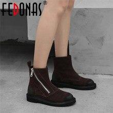 FEDONAS Qualidade Vaca Camurça Botas de Tornozelo Mulheres 2020 Inverno Quente Zipper sapatos de Salto Alto Sapatos de Dança Festa Mulher Botas Curtas Clássicos