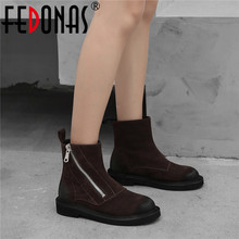 FEDONAS Quality Cow Suede Women Ankle Boots 2020 Winter Warm Zipper High Heels Party Dancing Shoes Woman Classic Short Boots